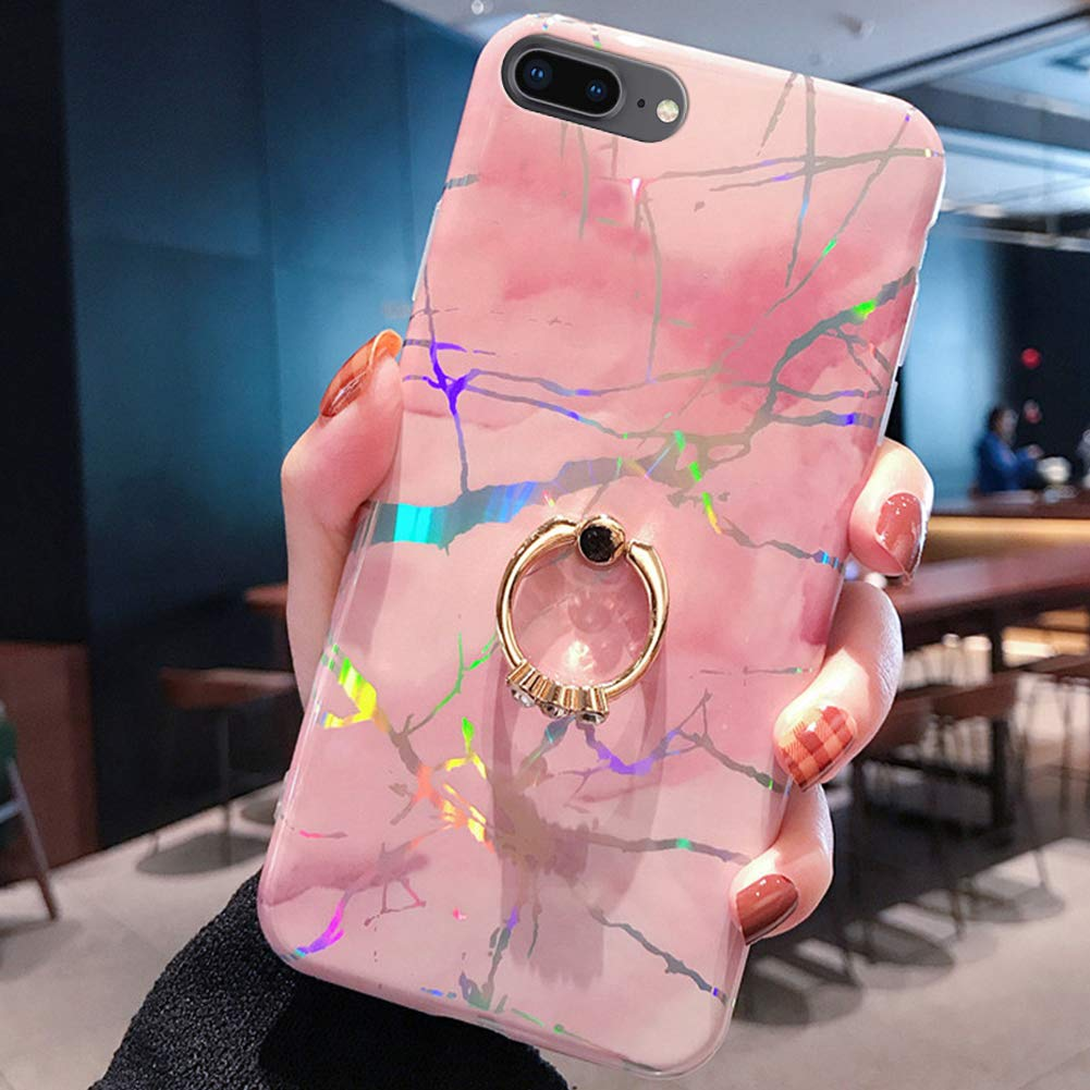 Marble Case for iPhone 8 Plus/7 Plus Cover,Girls and Women Diamond Ring Stand Sparkle Laser Aurora Color Marble Design Flexible Soft Rubber Gel TPU Case Cover for iPhone 8 Plus Silicone Case,Pink