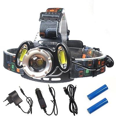 Phare de LED, USB rechargeable 2400LM Headlamp, lumière de casque imperméable à l'eau, torche principale de 4 modes avec la courroie principale réglable, 90 degrés Angle réglable de f
