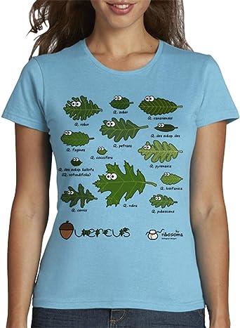 latostadora - Camiseta Quercus de España para Mujer: by ribosoma bd: Amazon.es: Ropa y accesorios