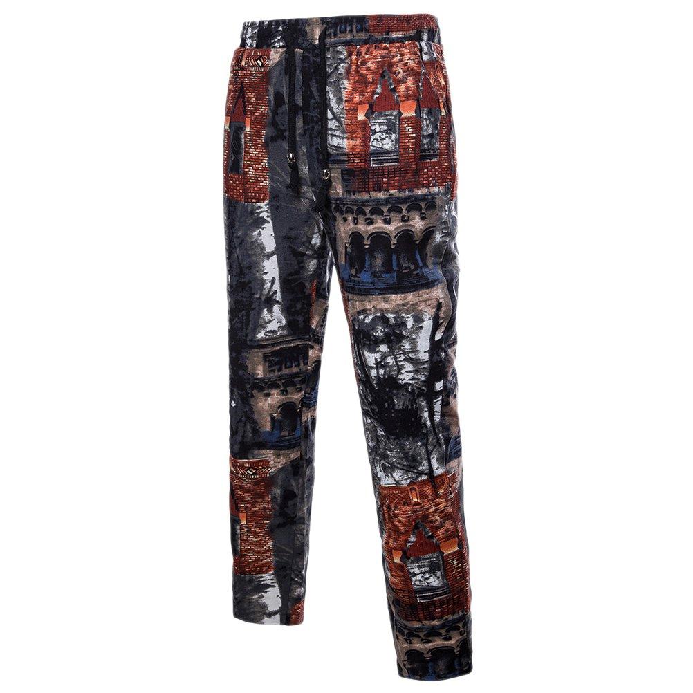 Zhhlinyuan Plus Size Teens Mens Breathable Linen Jogging Sports Fancy Trousers