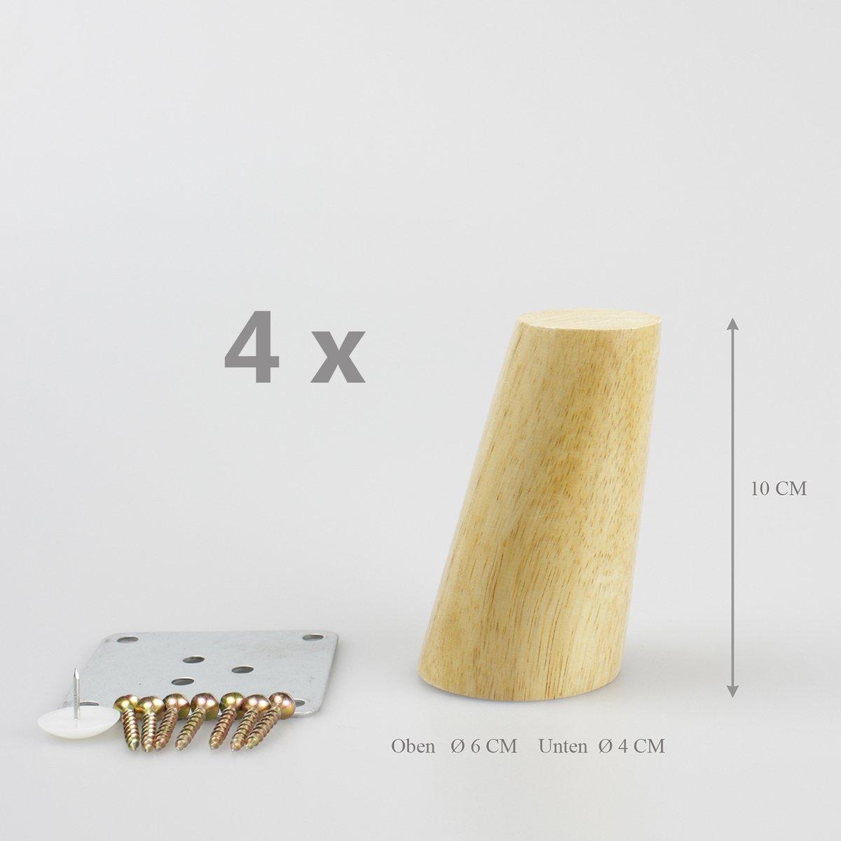 Zubeh/ör Sofafu/ß Tischfu/ß M/öbelfu/ß Schrankfu/ß Holzbeine gerade schr/äg Kautschukholz C: gerade 4x M/öbelf/ü/ße