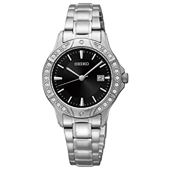 Seiko Black Dial Stainless Steel Ladies Watch SUR877 by Seiko Watches