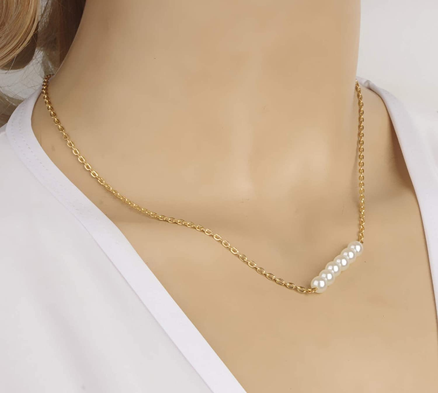 Epinki Gold Plated Bohemia Necklace Gold Pearl Chain Clavicle Necklace for Women and Girls