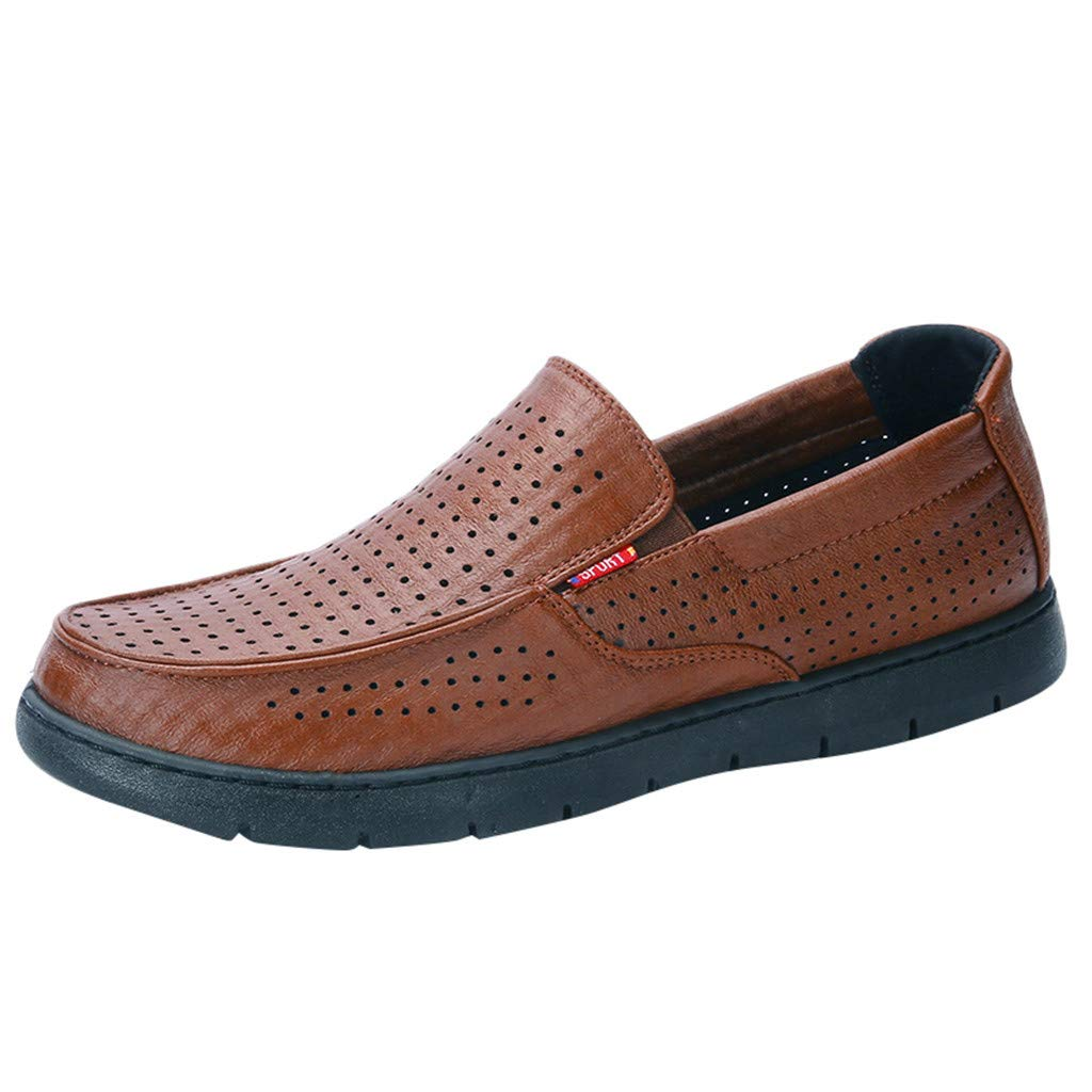 Haalife◕‿¿Men Business Leather Loafer Casual Slip on Memory Foam Footbed Shoes Comfy Lightweight Dress Walking Shoe Khaki by HAALIFE Shoes