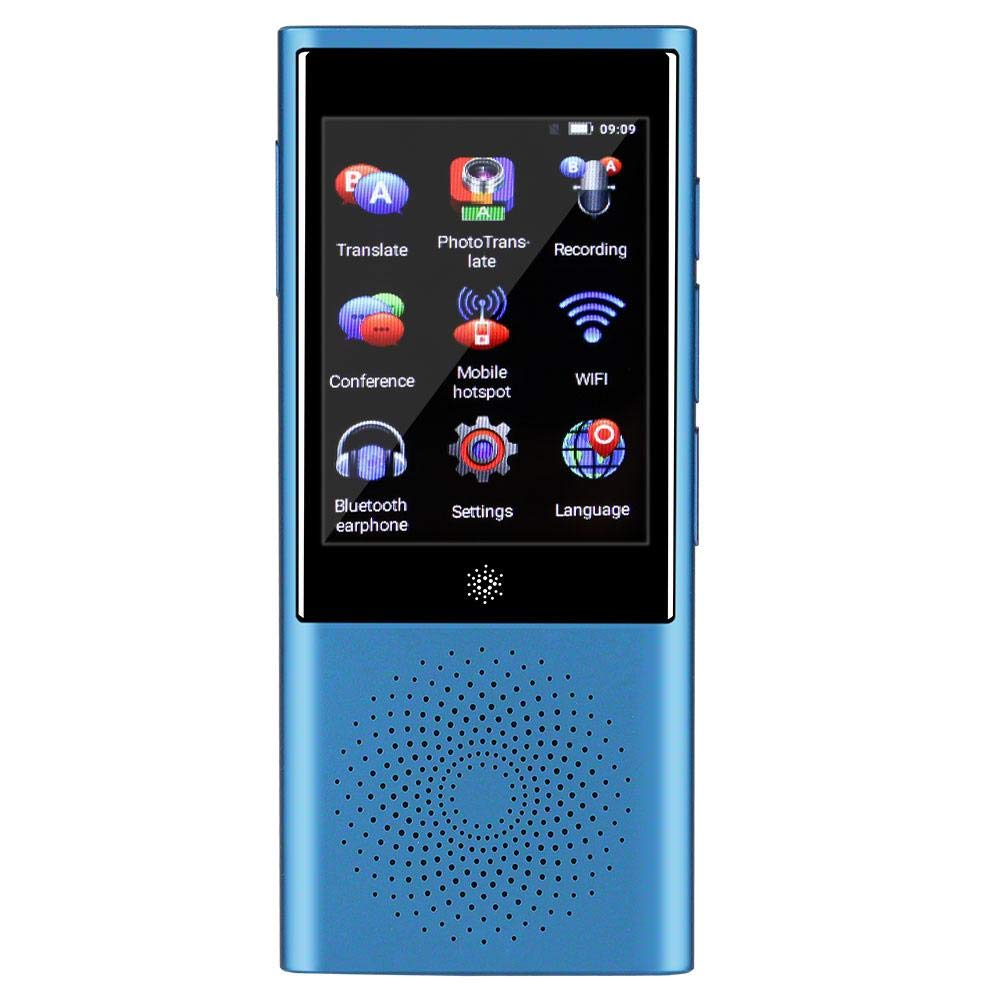 翻訳機 Mugast スマート言語翻訳装置 日本語 英語 ポータブルハンドヘルドスマート双方向リアルタイム ワイヤレス接続 タッチスクリーン 翻訳機+録音ペン機能 45種類言語対応(ブルー)  ブルー B07QTWP52V