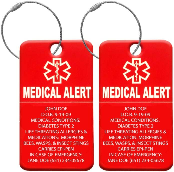 Medical Alert Tag – Medical ID Tag – Customized Engraved Info – Medical Patients – Luggage Tag – Equipment Luggage Tags – Respiratory 4 Pack