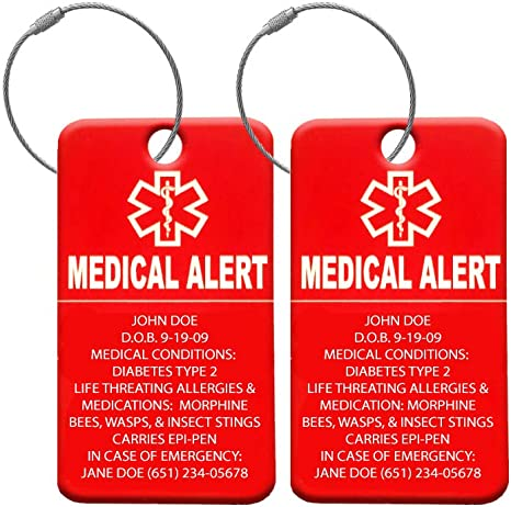 Medical Equipment Luggage Tag Medical Alert Zipper Pull Bag Tag Black