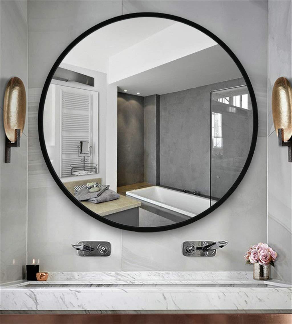 LH-Specchio Specchio sospeso per Specchio da Bagno a Parete Rotonda Dimensioni : 50cm Specchio per Trucco Circle Cornice in Legno Nero Specchio per Il Trucco a Parete