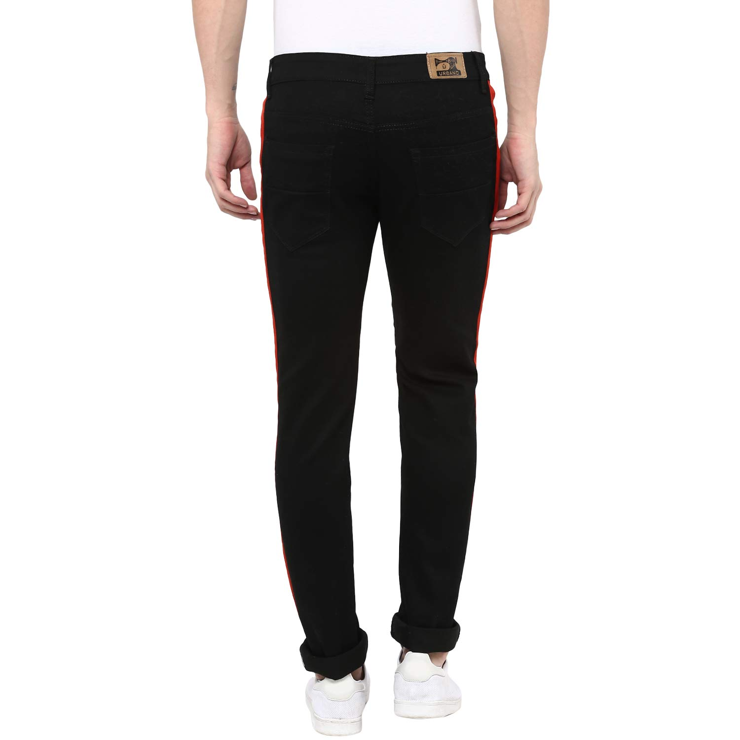 550124d5f0 Urbano Fashion Men s Black Side Striped Slim Fit Jeans Stretchable  (hpsstripered-black-34-fba)  Amazon.in  Clothing   Accessories