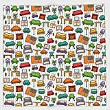 Cotton Microfiber Hand Towel,Doodle,Various Home Interior Elements Armchair Table Mirror Design Elements Doodle Style,Multicolor,for Kids, Teens, and Adults,One Side Printing