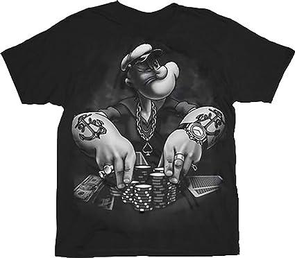 Popeye Herren T-Shirt Gr. S, Schwarz - Schwarz  Amazon.de  Bekleidung 2870f8f3bd