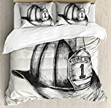 Lunarable Fireman Duvet Cover Set Queen Size, Sketch Style Illustration of a Firefighter Symbol of the Fire Department, Decorative 3 Piece Bedding Set with 2 Pillow Shams, Beige Charcoal Grey
