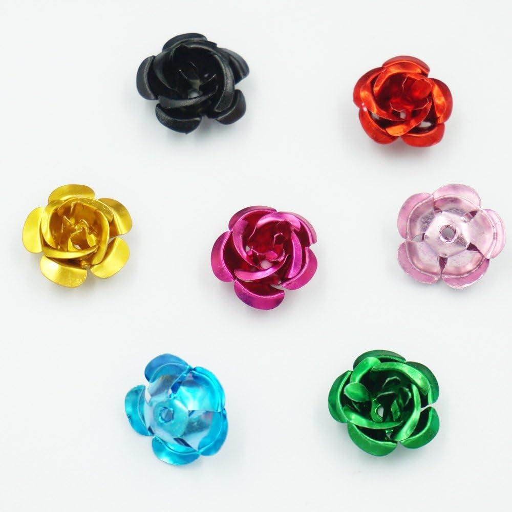 50 x 6mm Turquoise Blue Aluminium Rose Spacer Beads