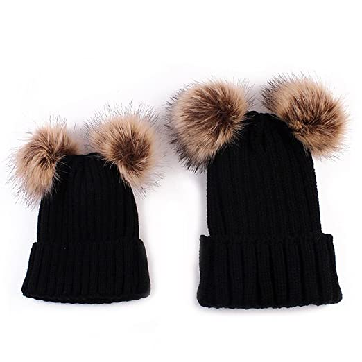 d22bdbc41 Amazon.com  Mommy and Baby Winter Warm Hat Boy Girls Double Fur Pom ...