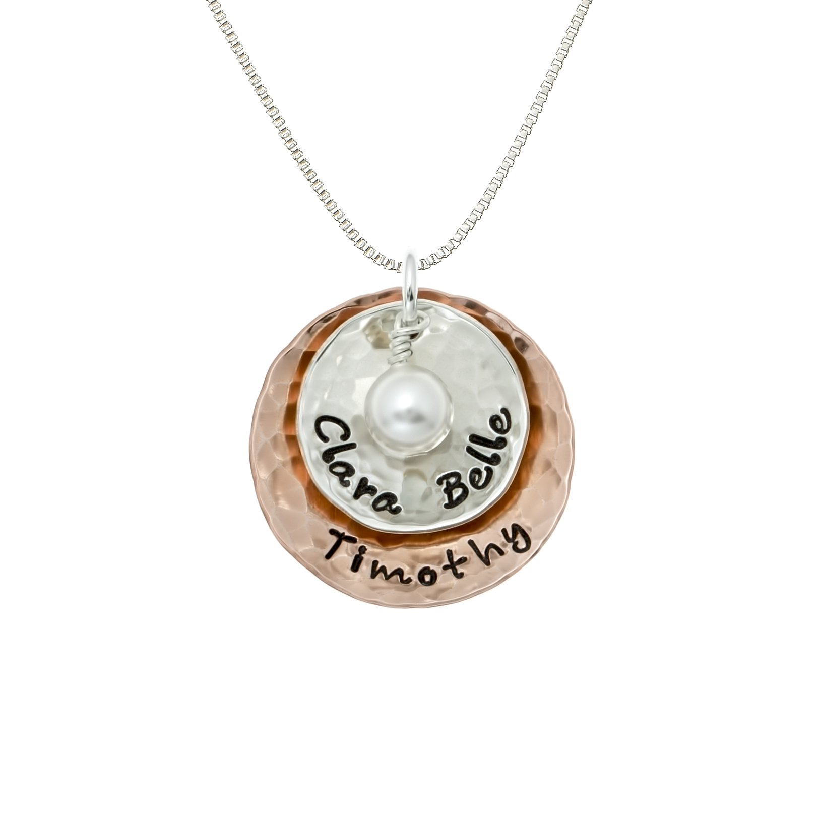 Deux Amore Multi-Tone Two Disc Necklace Personalized on Sterling Silver and Rose Gold Plated Discs with your Choice of Names. Includes Swarovski Pearl. Hand finished and Includes 925 Chain