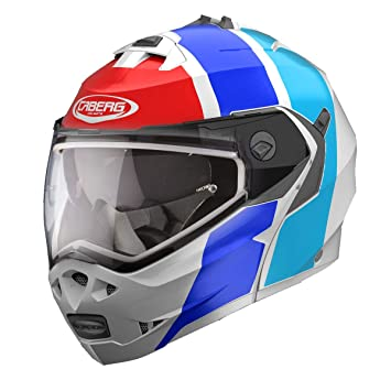 Caberg Duke II Impact - Casco de moto abatible, color blanco, azul y rojo