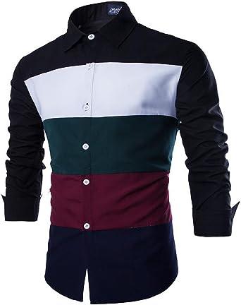 Mada camisa de bloques de Color vestido de manga larga ...