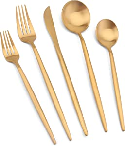 Vanys Silverware Set, Matte Gold Flatware Cutlery Set Service for 4, Satin Finish 20 Piece Stainless Steel Utensils Set for Home and Restaurant, Dishwasher Safe