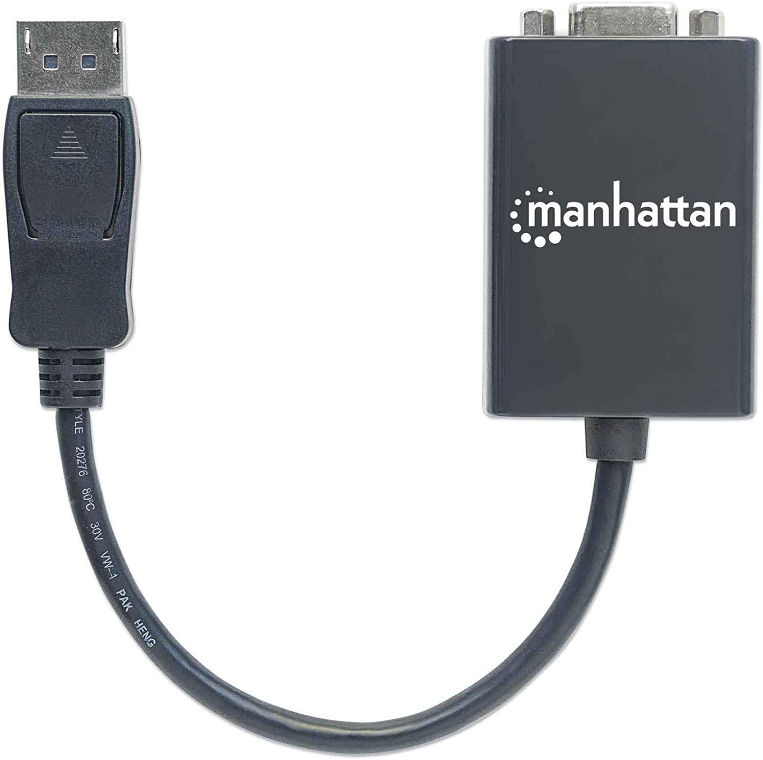 active black Manhattan DisplayPort to VGA converter cable DisplayPort male to VGA HD15 female adapter 6 inch