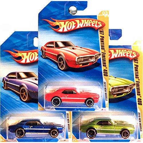 (Hot Wheels 2010 New Models 1967 Pontiac Firebird 400 Green Blue Red SET OF 3 )