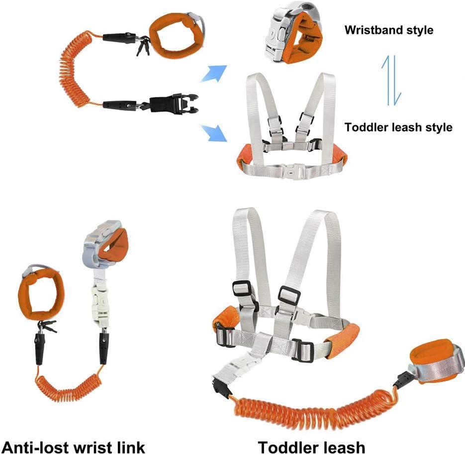 riendas para ni/ños OFUN Correa para ni/ños suave y flexible naranja Naranja 2 arn/és de seguridad de 2,5 m con mu/ñeca antip/érdida para viajes 2 piezas de arn/és para beb/é para ni/ños