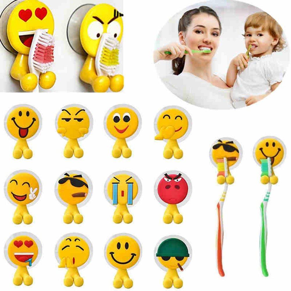 prelikes Emoji expresión Sucker soporte para cepillos de dientes soporte de pared para cuarto de baño para colgar de: Amazon.es: Hogar