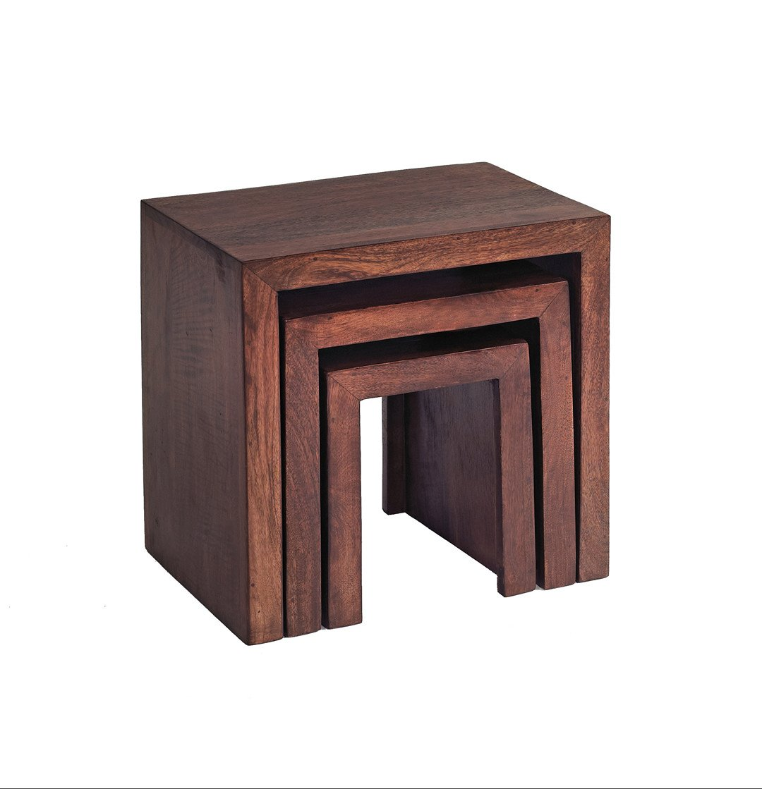 British Raj Tamil Nadu Nest Of 3 Tables Made From 100% Solid Mango Hardwood Nest of Tables