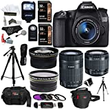 Canon EOS 70D 20.2 MP SLR Camera Bundle with EF-S 18-55mm f/3.5-5.6 mm STM Lens, 55-250 mm f/4-5.6 Image Stabilizer Zoom Lens, Wide Angle Telephoto Lens and Accessories