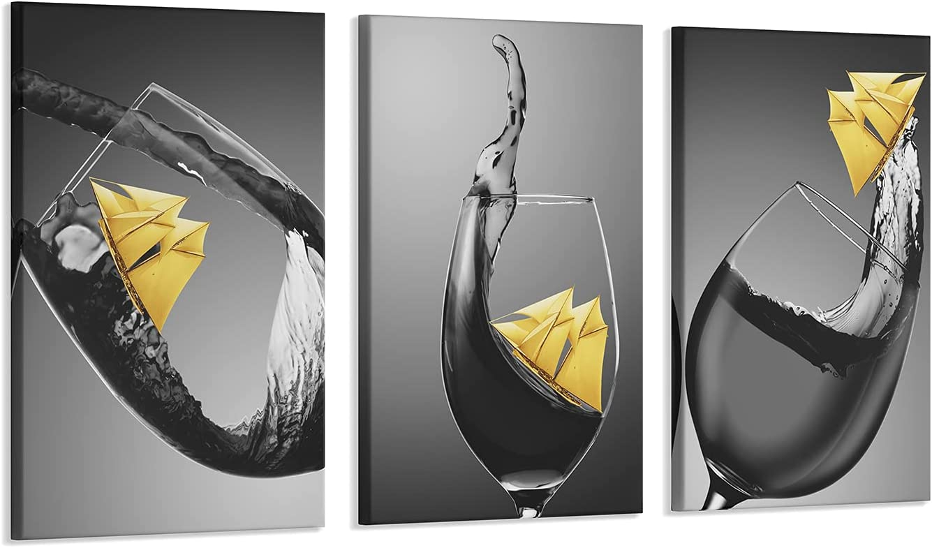 3 Pcs Wine Wall Art for Kitchen Decor Black and White Canvas Wine Glasses Paintings Wall Art Pictures with Wood Inner Frame for Dining Room Yellow Kitchen Decor and Accessories (A,8X12Inchx3Pcs)