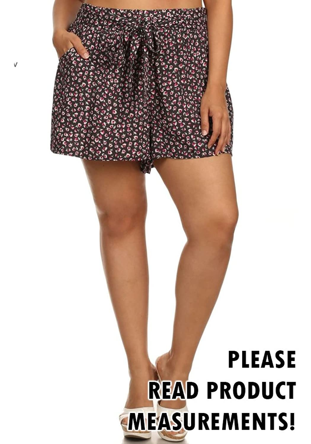 Women's Plus Size Loose Fit Casual Floral Print Shorts Tie Waist Belted Pockets