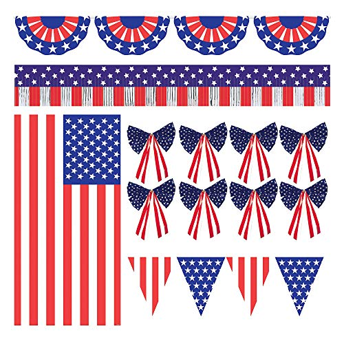 Patriotic American Flag Outdoor Decorating Kit 12pc