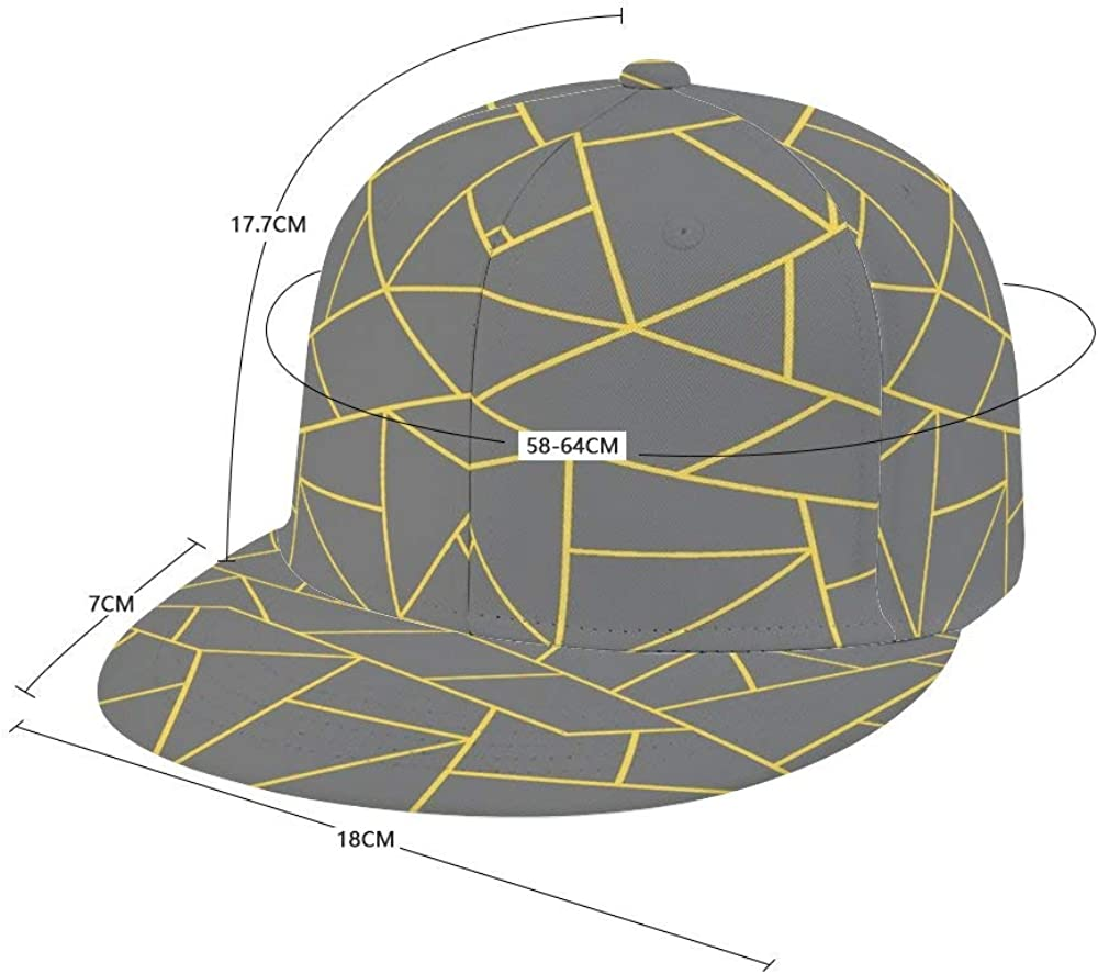 Dongi Mustard Yellow Mosaic Lines On Darker Gray Unisex Full-Print Flat Rubber Ball Cap can Adjust Hip-hop Style