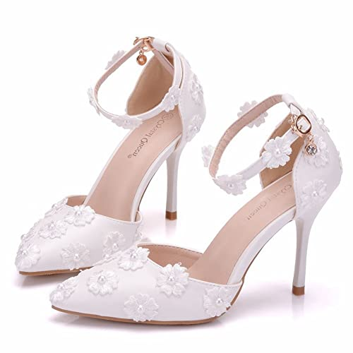 43345cd39ab Amazon.com | Crystal Queen Bridal Shoes Thin Heels Sandals Pointed ...