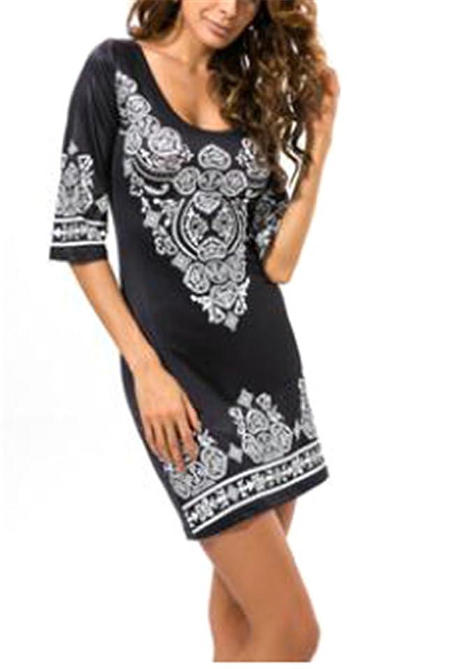 Amazon.com: Eloise Isabel Fashion mulheres caju flores impresso sexy elegante boho do vintage festa casual tunique femme: Clothing
