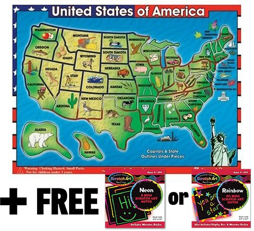 Wooden USA Map Sound Puzzle (40 Pieces) + FREE Melissa & Doug Scratch Art Mini-Pad Bundle [07153]