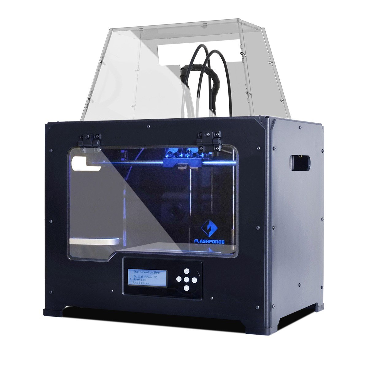 FlashForge USA 3D Printer Full Chamber Dual Extruder for PLA/ABS Printing-Metal Case with Acrylic Covers (Creator PRO)