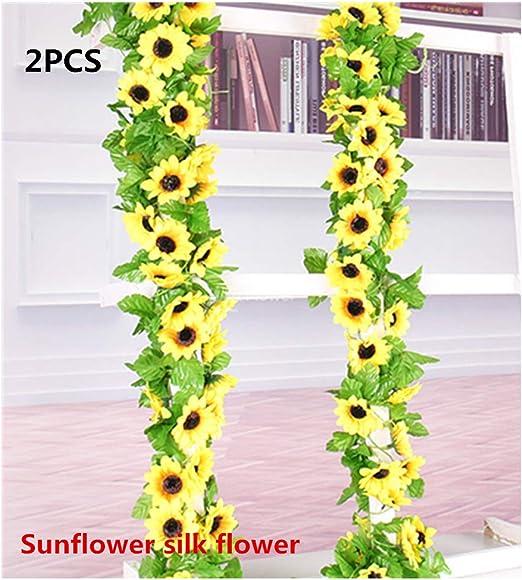 Simulated Sunflower Garland Vine Leaf Wedding Floral Home Decor Supplies