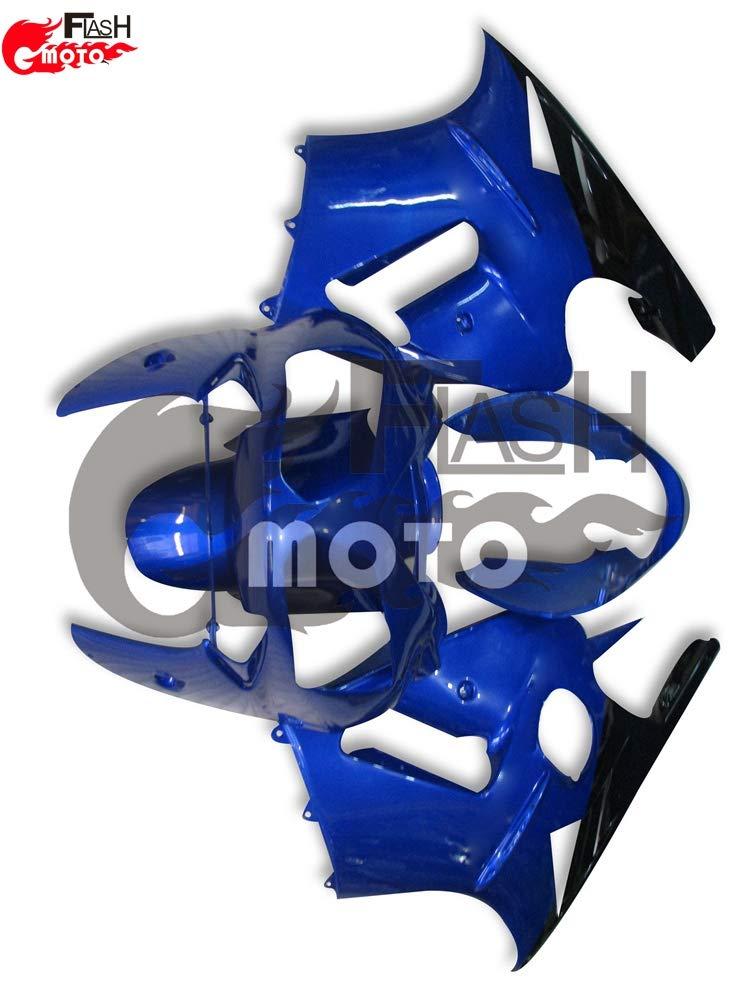 FlashMoto kawasaki 川崎 カワサキ ZX12R 2002 2003 2004 2005 2006用フェアリング 塗装済 オートバイ用射出成型ABS樹脂ボディワークのフェアリングキットセット (ブルー,ブラック)   B07L8B2KNH