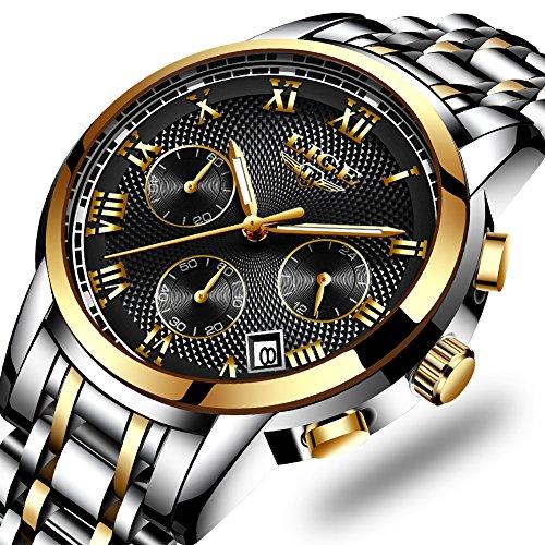 LIGE Quartz Watches For Men Luxury Business Analog Black Mens Watches Full Steel Chronograph Waterproof Wrist Watch