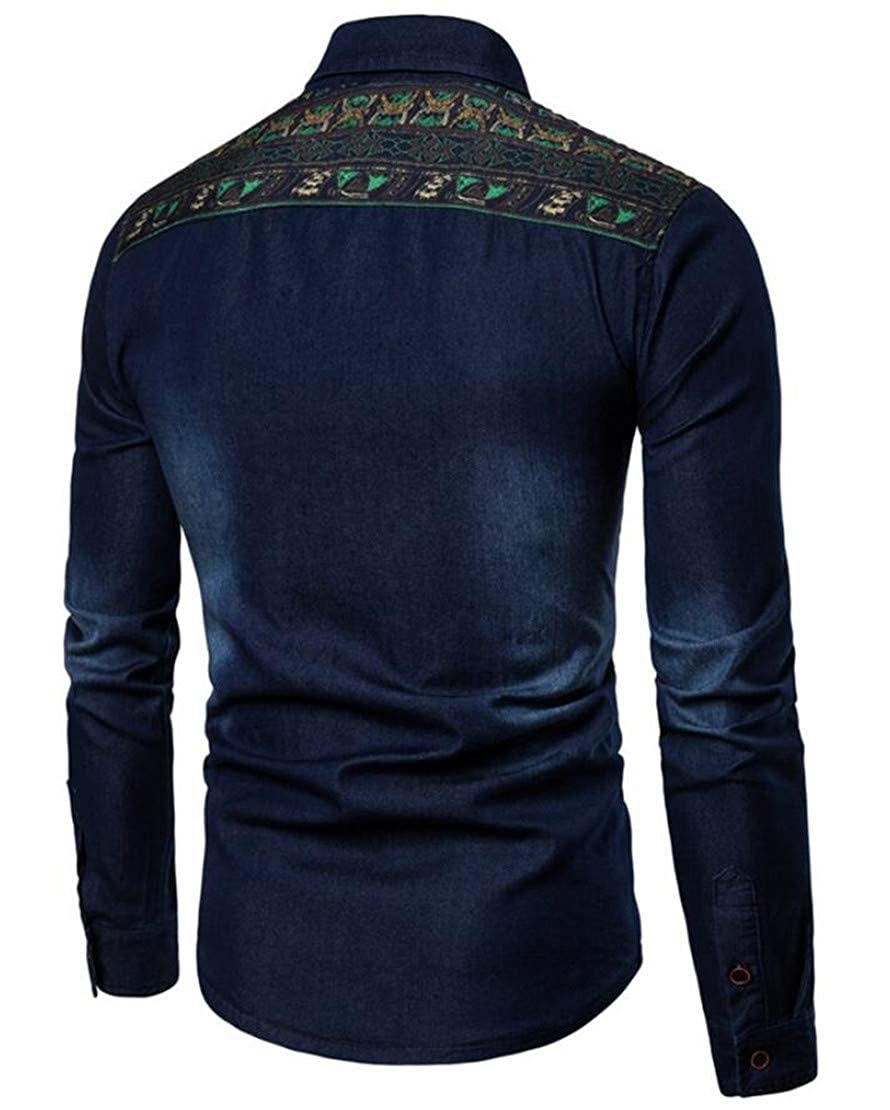 X-Future Mens Lapel African Print Dashiki Button Down Long Sleeve Jean Demin Shirt