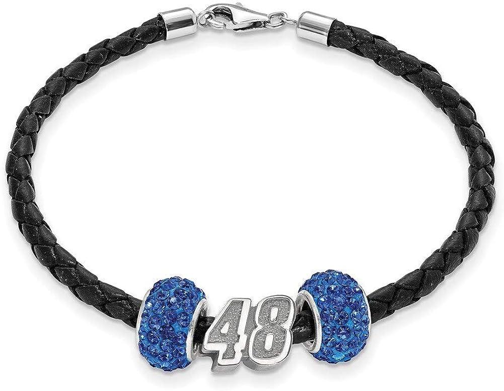 Lex /& Lu LogoArt Sterling Silver Leather Bracelet w//Two Blue Crystal Beads #48 Bead