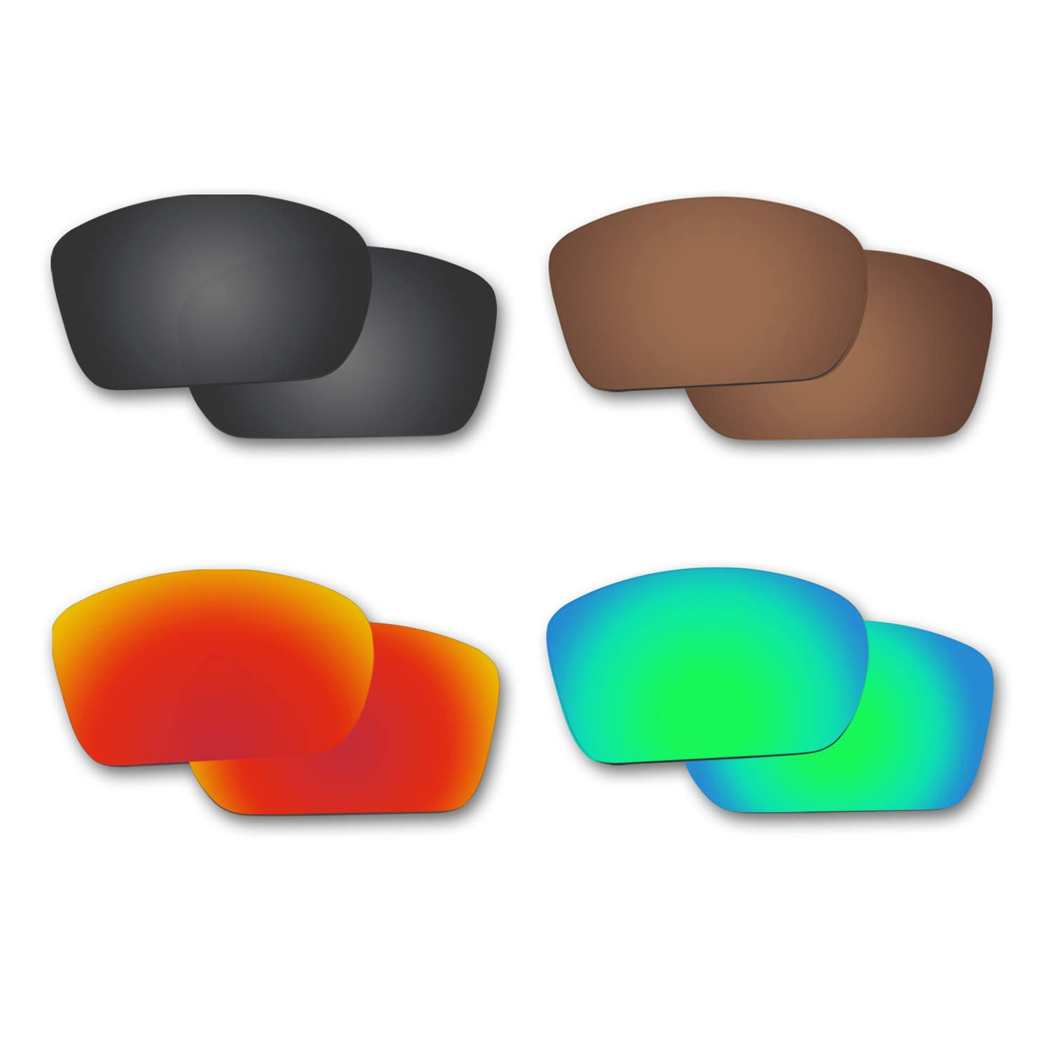 Fiskr Anti-saltwater Polarized Replacement Lenses for Oakley Big Taco Sunglasses 4 Pairs by Fiskr
