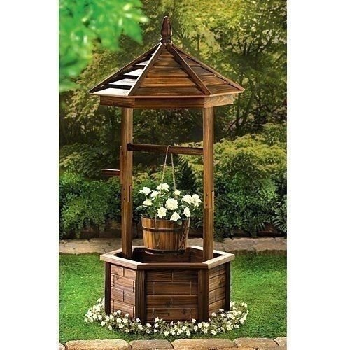 NEW Wishing Well Planter Rustic Country 2 Tier Plant Stand Wood Finish Flowers .#GH45843 3468-T34562FD180433 -