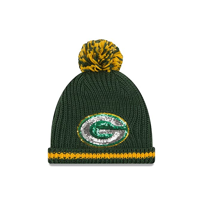New Era Women s Sequin Frost Green Bay Packers Dark Green Hat One Size Fits  All 2f7f94add