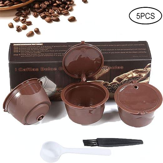 KOBWA 3 Pcs Filtros Cápsulas de Café Puede Rellenables Reutilizable para Cafetera Dolce Gusto con 1 Cucharón de Plástico y 1 Cepillo de Limpieza: Amazon.es: Hogar