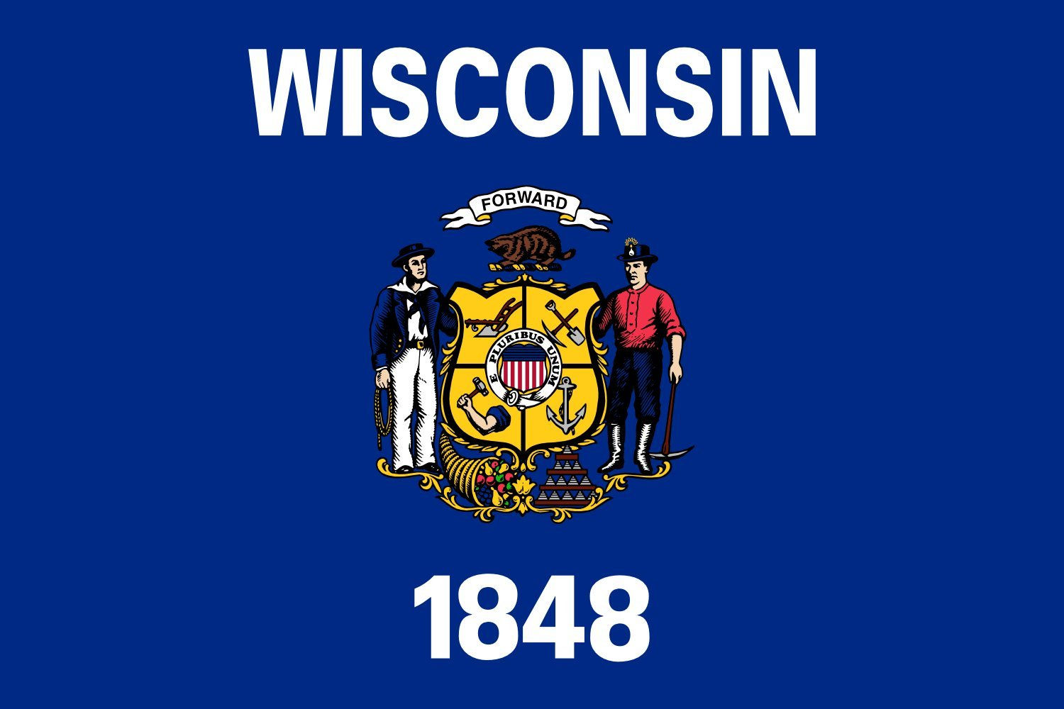 magFlags XXXL Flag Wisconsin | landscape flag | 6qm | 64sqft | 200x300cm | 6x10ft -- 100% Made in Germany -- long lasting outdoor flag