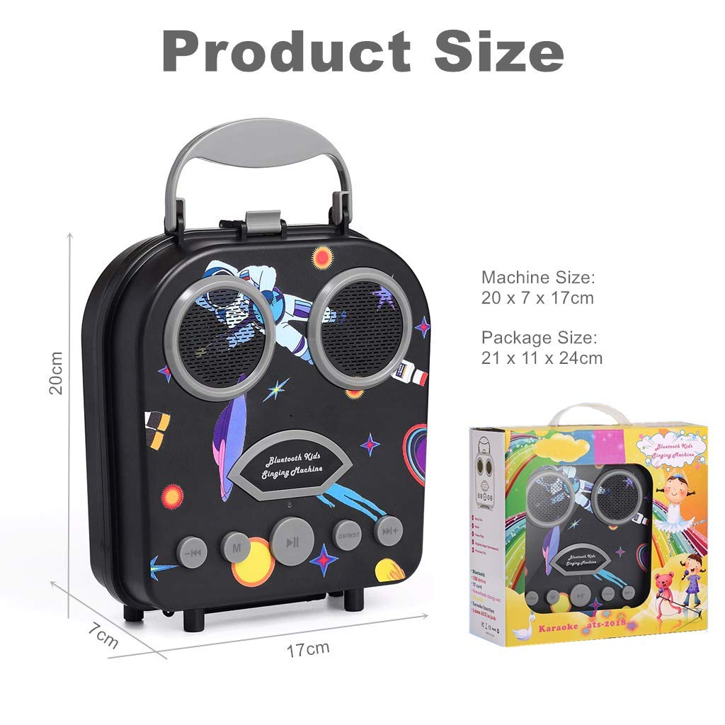 Kids Karaoke Machine with Microphone, Bluetooth Rechargeable Kids Handbag Karaoke Music Player Toy Children MP3 Player Loudspeaker with Microphone (Handbag Black) by Kidsonor (Image #7)