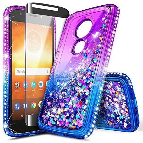 Moto E5 Play Case, Moto E5 Go/Moto E5 Cruise w/[Tempered Glass Screen Protector], NageBee Glitter Liquid Quicksand Waterfall Sparkle Diamond Cute Case for Motorola Moto E Play 5th Gen -Purple/Blue