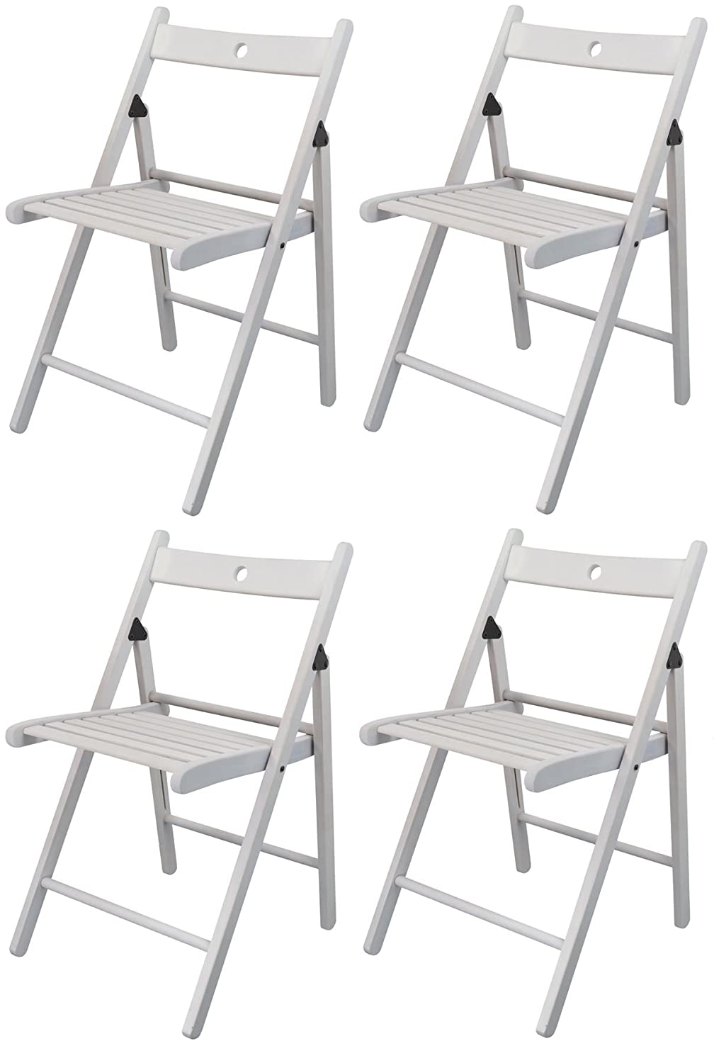 Harbour Housewares Wooden Folding Chairs - White Wood Colour - Pack of 4…