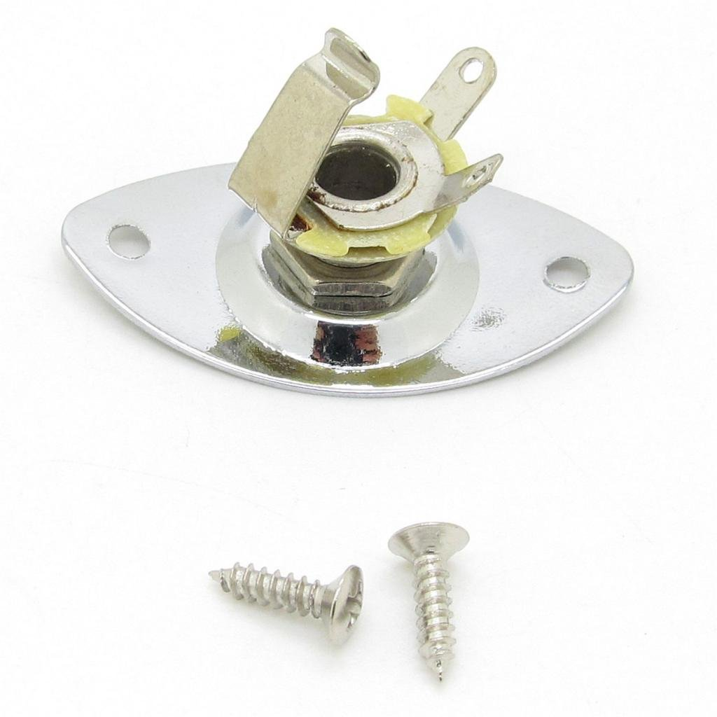 Chrome Oval Indented 6.35mm Guitar Pickup output Input Jack Plug